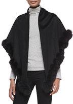 Sofia Cashmere Whip-Stitch Fox Fur Shawl, Black