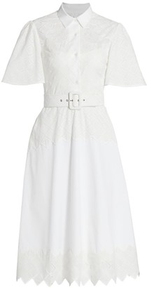 Lela Rose Diamond Eyelet Belted Shirtdress