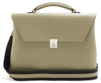 Valextra Grained-leather Briefcase - Green
