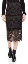 Sandro Rococo Lace Midi Skirt