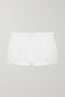 La Perla Souple Lace-trimmed Stretch-cotton Jersey Pajama Shorts - White