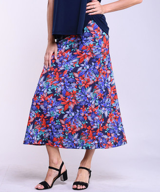 Lbisse Women's Maxi Skirts Multi - Navy & Red Floral Maxi Skirt - Women & Plus