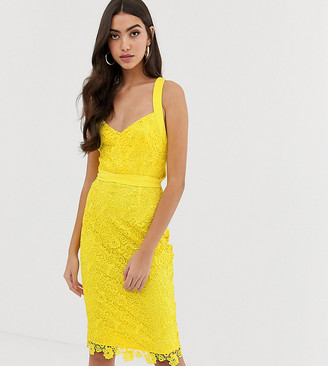 Paper Dolls Tall crochet lace dress with multiway straps in yellow