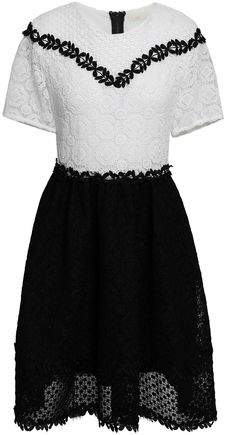 Maje Two-tone Guipure Lace Mini Dress