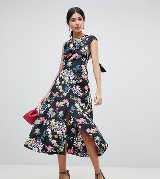 Asos DESIGN Tall Drape Midi Dress In Floral Print