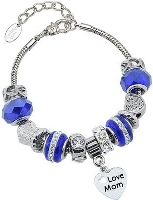 Swarovski Golden Moon Women's Bracelets Royal - Royal Blue Murano 'Love Mom' Charm Bracelet With Crystals