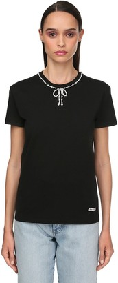 Miu Miu Jersey T-shirt W/faux Pearls Bow Collar