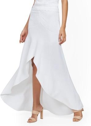 New York & Co. White Ruffled Hi-Lo Maxi Sweater Skirt