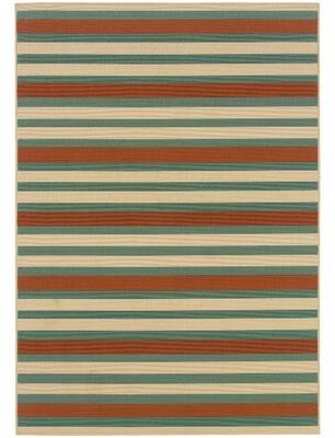 """Andover Mills Brendel Striped Hooked Green/Beige/Brown Indoor / Outdoor Area Rug Rug Size: Rectangle 7'10"""" x 10'10"""""""