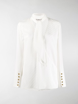 Givenchy Neck Tie Striped Blouse