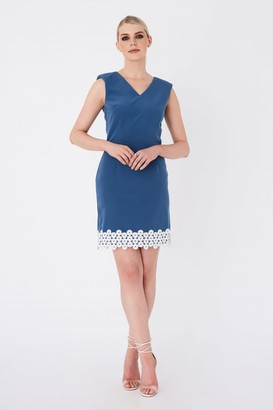 Paper Dolls Vogel Prussian Blue Lace-Trim Mini Shift Dress