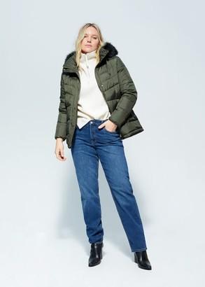 MANGO Violeta BY Detachable faux fur hood anorak khaki - S - Plus sizes