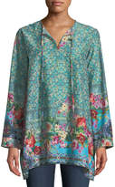 Johnny Was Bessimo Floral Tie-Neck Tunic