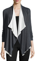 Three Dots Open-Front Layered-Hem Cardigan, Charcoal/Gardenia