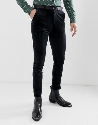 ASOS DESIGN super skinny trousers in black velvet