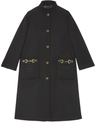 Gucci Wool coat with leather detail