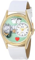 Whimsical Watches Women's C0610031 Classic Gold Nurse Green Leather And Goldtone Watch