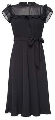Dorothy Perkins Womens **Billie & Blossom Petite Black Ruffle Midi Dress, Black