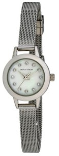 Laura Ashley Women's Mini Case Silver Tone Alloy Bracelet Watch 22mm