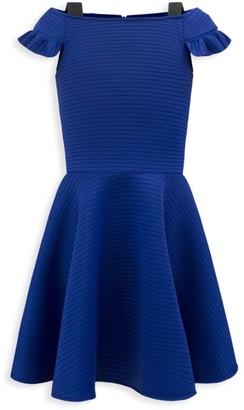 David Charles Girl's Off-The-Shoulder Ribbed Fit-&-Flare Dress