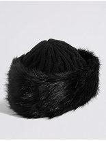 M&S Collection Faux Fur Cable Knit Winter Hat