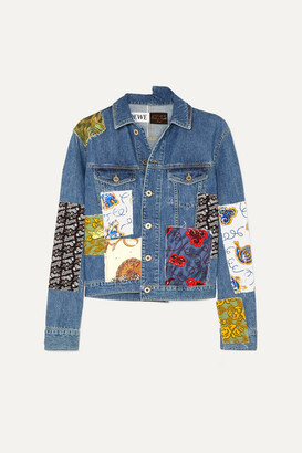 Loewe + Paula's Ibiza Cropped Patchwork Printed Voile And Denim Jacket - Indigo