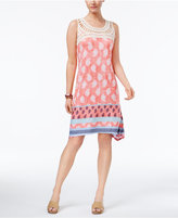 Style&Co. Style & Co Crochet-Yoke Mixed-Print Dress, Only at Macy's