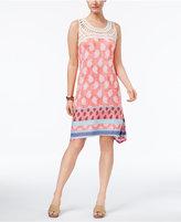 Style&Co. Style & Co Crochet-Yoke Mixed-Print Dress, Only at Macy's