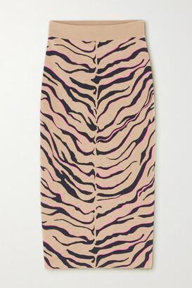 Stella McCartney - Jacquard-knit Wool-blend Midi Skirt - Neutrals