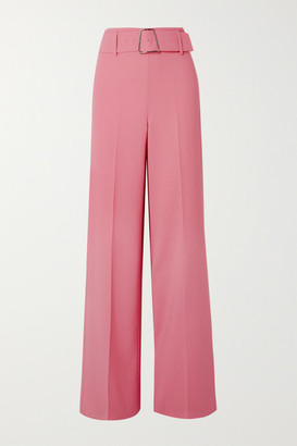 Akris Floriane Belted Wool-blend Wide-leg Pants - Pink