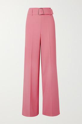 Akris Floriane Belted Wool-blend Wide-leg Pants