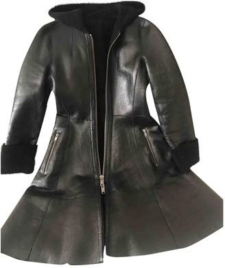 DKNY Black Leather Coat for Women