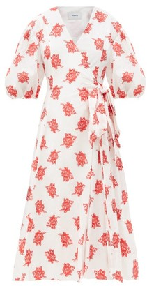 Erdem Marguerite Balloon-sleeve Rose Fil Coupe Dress - Red White