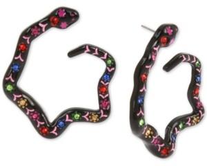 Betsey Johnson Black-Tone Multicolor Pave Snake Front-Facing Hoop Earrings