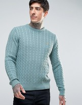 Farah Lewes Crew Sweater Cable Knit Slim Fit in Teal Marl