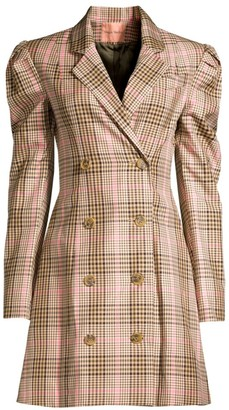 Maggie Marilyn Leap Of Faith Plaid Double-Breasted Blazer Dress