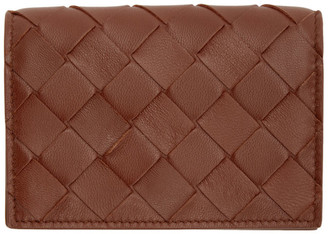 Bottega Veneta Burgundy Intrecciato Flap Card Holder
