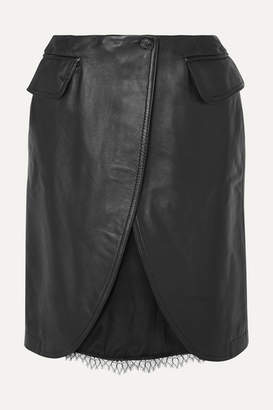 MM6 MAISON MARGIELA Satin And Lace-trimmed Leather Skirt - Black