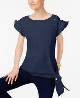 MICHAEL Michael Kors Petite Flutter-Sleeve Side-Tie Blouse, A Macy's Exclusive