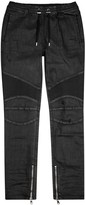 Balmain Black Coated Denim Jogging Trousers