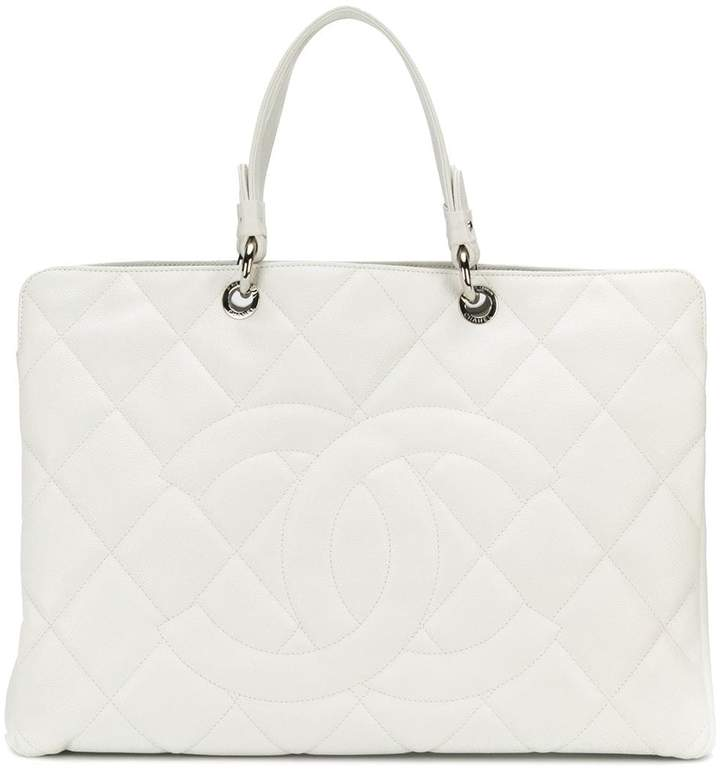 Chanel Pre-Owned quilted leather logo tote