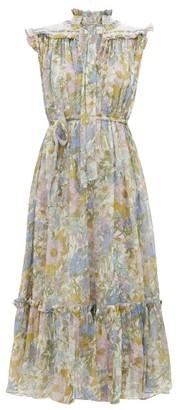 Zimmermann Super Eight Floral-print Silk-chiffon Dress - Womens - Blue Print