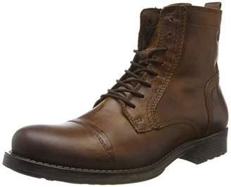 Jack and Jones Men's Jfwrussel Leather 19 Biker Boots, Brown (Cognac Cognac)