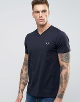 Fred Perry V Neck T-Shirt in Navy