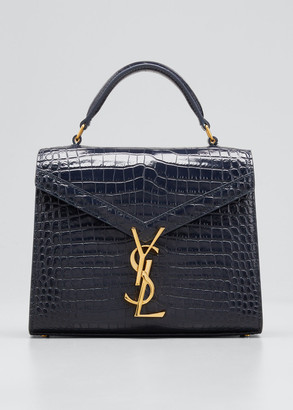 Saint Laurent Cassandre Mini Monogram Shiny Stamped Croc Top-Handle Bag