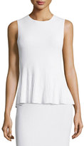 Theory Canelis Prosecco Ribbed-Knit Top, White