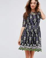 Club L Embroidery Skater Tea Dress