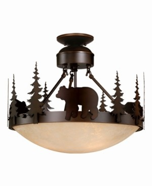 Vaxcel Bozeman Amber Glass Rustic Bear Semi-Flush Mount Light or Pendant