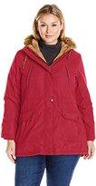 Details Women's Plus Size Anorak Parka Coat with Faux Fur Trimmed Hood