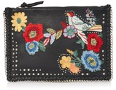 Topshop Oto Embroidered Leather Crossbody Bag - Black